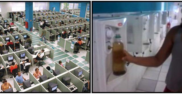A água marrom que as trabalhadoras da Contax são ...