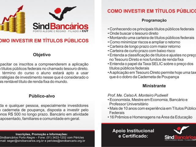 """SindBancários oferece nova edição do curso """"Como Investir ..."""