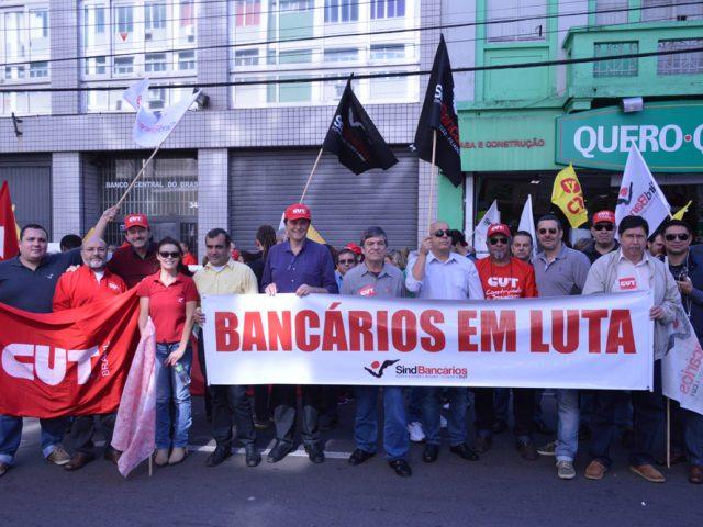 SindBancários protesta contra ajuste fiscal do governo federal em ...