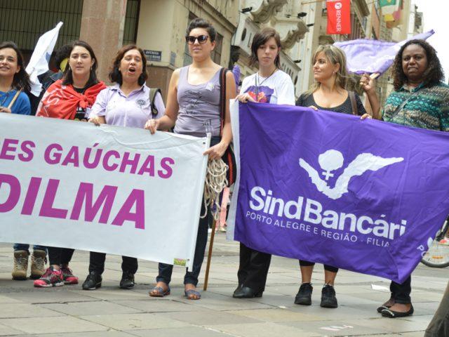 Mulheres sindicalistas realizam ato político relâmpago em defesa ...