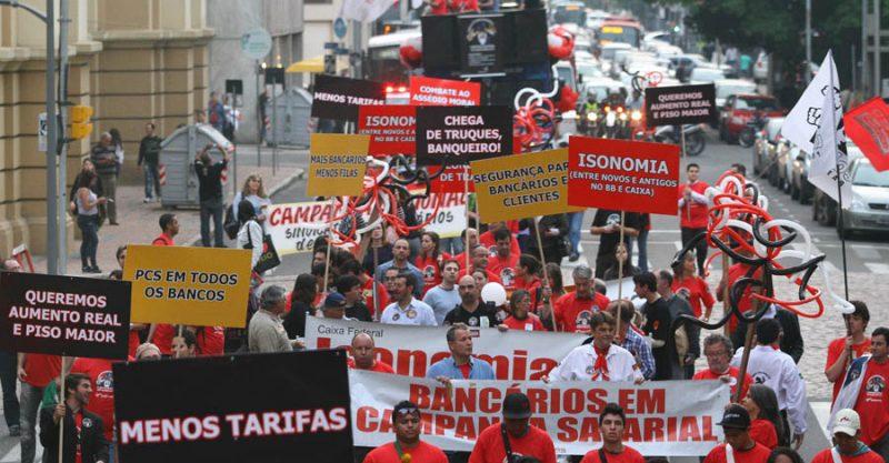 Bancário(a), vem pra Caminhada, quinta, 1º/9, garantir a tua luta. É tempo de união e participação!