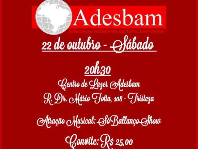 Jantar dançante no dia 22 comemora os 104 anos da Adesbam