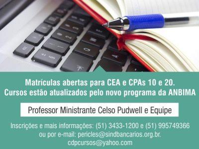 Curso de Certificação de Especialização em Investimento Anbima (CEA) e cursos de CPA10 e CPA20 estão com matrículas abertas