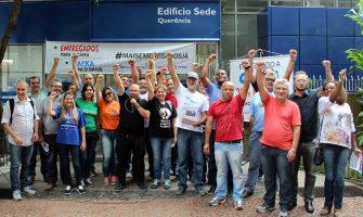 """Bancários chamam trabalhadores à greve geral do dia 28 em ato em defesa dos bancos públicos e à reação às """"reformas"""" golpistas"""