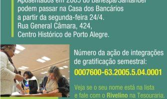 Aposentados de 2005 do Banespa já podem buscar seus cheques de ação de gratificação semestral a partir da segunda, 24/4. Confira lista