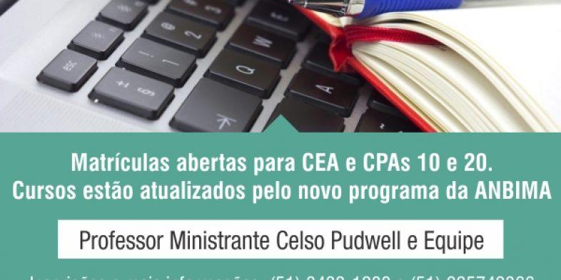Preste atenção que tem inscrições abertas para CPA-10, CPA-20 e CEA. Aberta temporada de cursos em maio