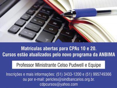 Cursos CPA 10 e 20 iniciam aulas no sábado, 20/5. As vagas são limitadas, mas ainda há tempo de se inscrever