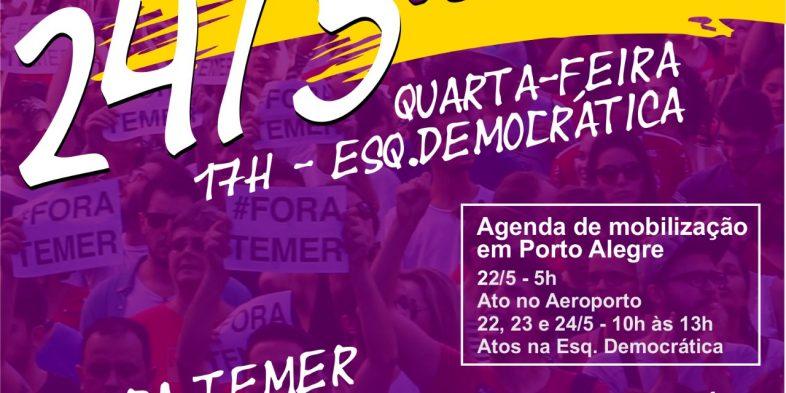 Ato da CUT-RS e centrais no Aeroporto de Porto Alegre exige Fora Temer e Diretas Já