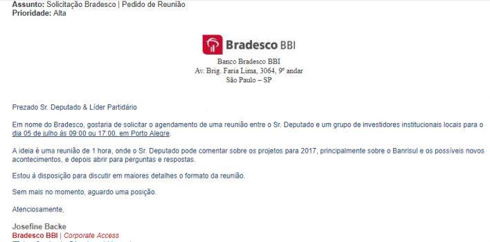 Braço internacional do Bradesco convida deputados estaduais para reuniões de interesse sobre o Banrisul