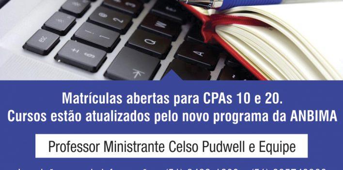 Abertas as inscrições para novas turmas de CPA 10 e CPA 20