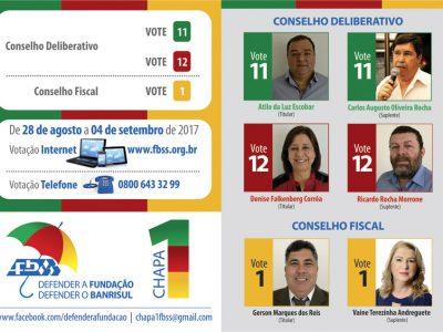 Eleições na Fundação Banrisul: vamos seguir votando para eleger os colegas da Chapa 1