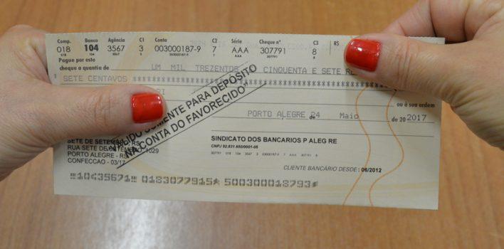 Cheques da ação do ADI na gratificação semestral estão à disposição dos Banrisulenses a partir desta segunda-feira, 18/9, das 8h30 às 19h, no Sindicato
