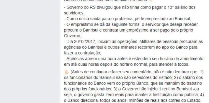 Banrisulense exalta importância do Banrisul público e a atuação no pagamento do 13º dos servidores em post no facebook. Leia aqui