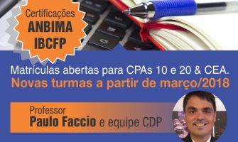 Matrículas abertas para cursos de março preparatórios para certificações CPA10, CPA20 e CEA