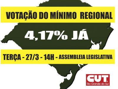 CUT-RS defende reajuste de 4,17% para mínimo regional na votação da próxima terça, 22/3
