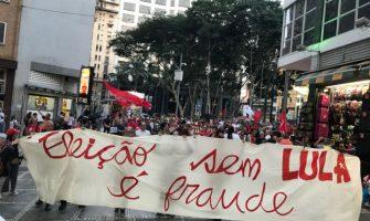Bancários foram às ruas em São Paulo no Dia Nacional em Defesa de Lula Livre