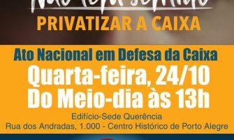 SindBancários chama empregados da Caixa para Ato em Defesa do banco 100% público na quarta, 24/10