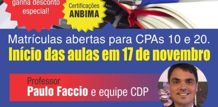 Estão abertas matrículas para novas turmas CPA 10 e CPA 20 em cursos de novembro no SindBancários