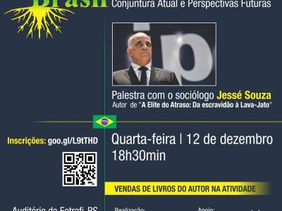 Sociólogo Jessé Souza debate o Brasil de agora e aponta para o futuro em palestra na sede da Fetrafi-RS, em 12/12