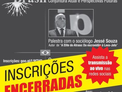 Vagas para palestra do sociólogo Jessé Souza são preenchidas em 24 horas. Evento terá transmissão nas redes sociais