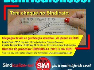 Banrisulenses já podem buscar cheques da ação de integração da ADI na gratificação semestral nesta quinta, 27/12