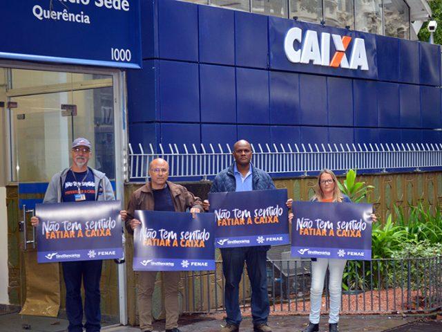 SindBancários protesta contra fatiamento da Caixa e conversa com ...