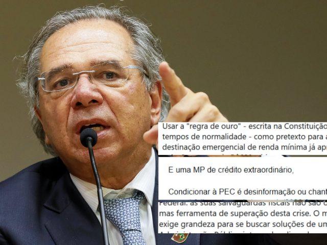 Guedes faz 'chantagem' com renda emergencial