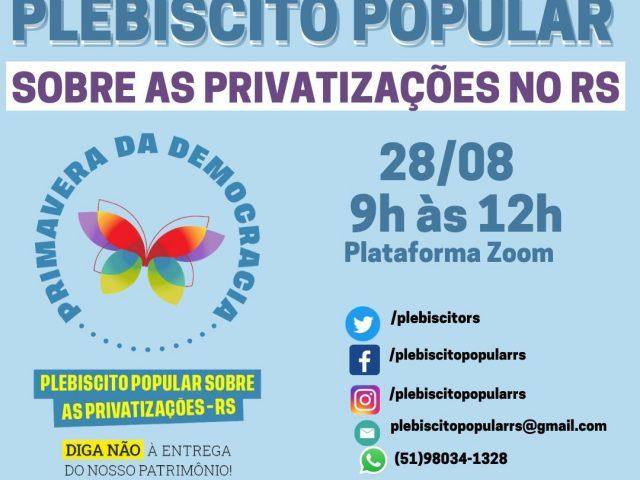 Plebiscito Popular RS realiza segunda formação sábado, 28/8